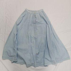 Vintage | Long Chambray Button Down Prairie Skirt
